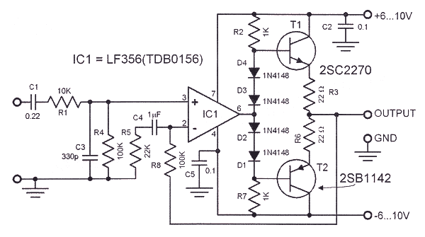 hifi headphone amplifier circuit based lf356