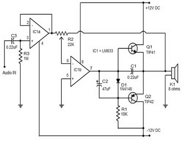 Superb 15 W Class B Audio Amplifier Circuit Circuitszone Com Wiring Digital Resources Anistprontobusorg
