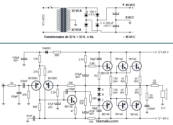 260w power audio amplifier circuit  u00bb circuitszone com
