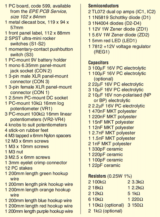 balanced microphone preamp circuit parts list