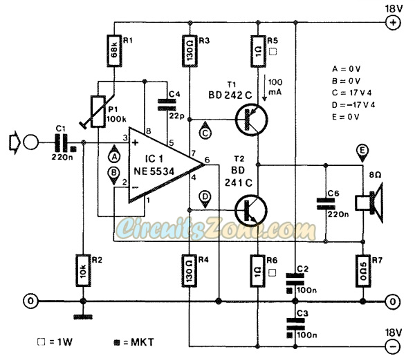 current corrected audio amplifier circuits  u00bb circuitszone com
