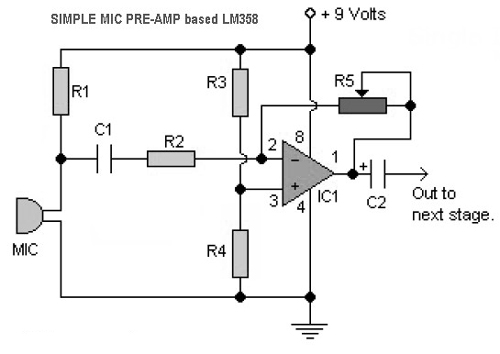 simple mic preamp circuits based lm358  u00bb circuitszone com