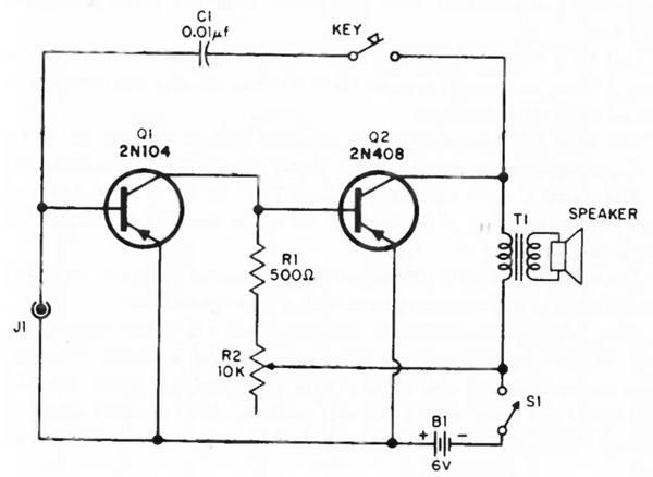 simple audio amplifier  oscilator circuit with two