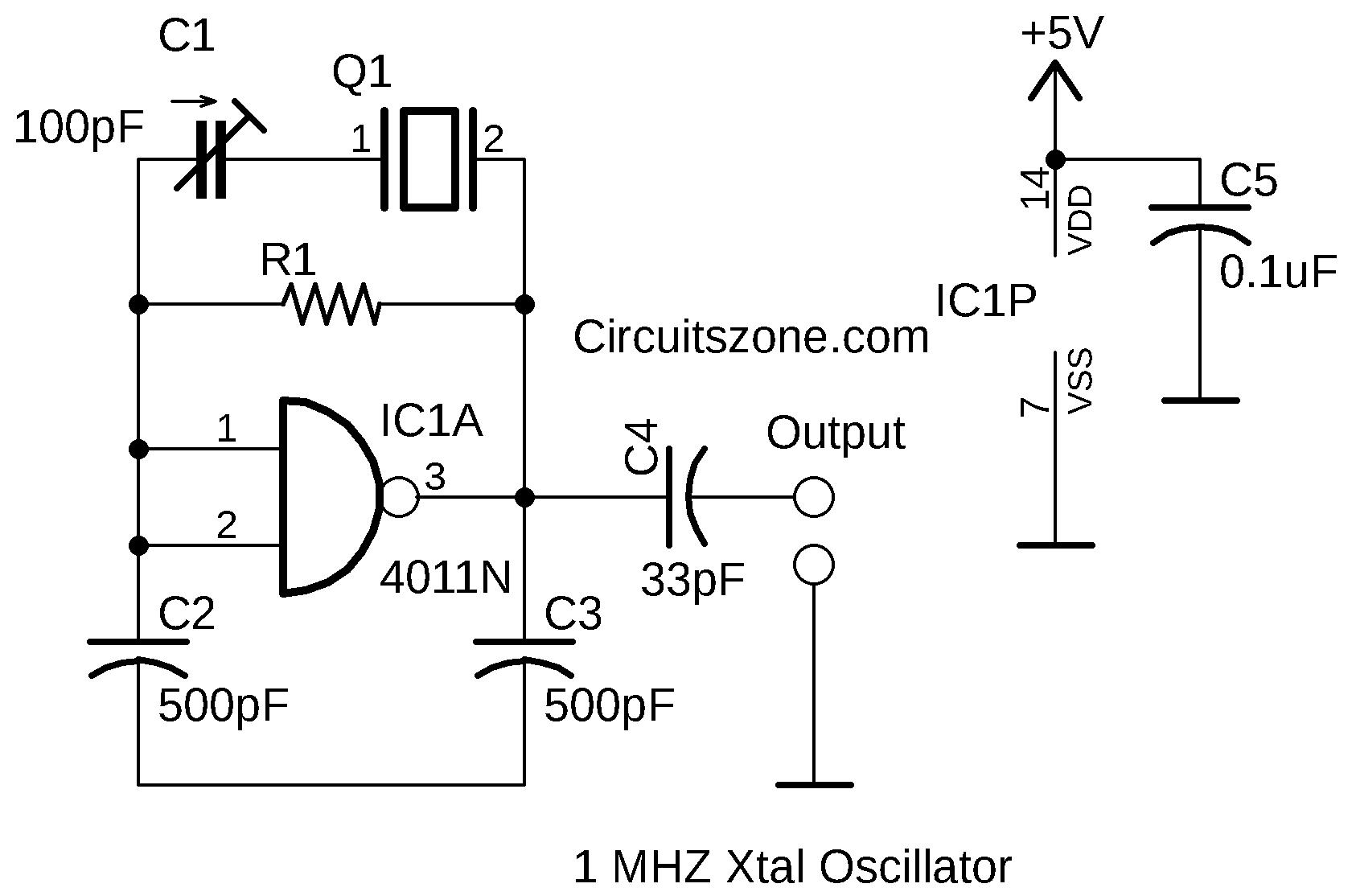 1 mhz xtal oscillator based cmos