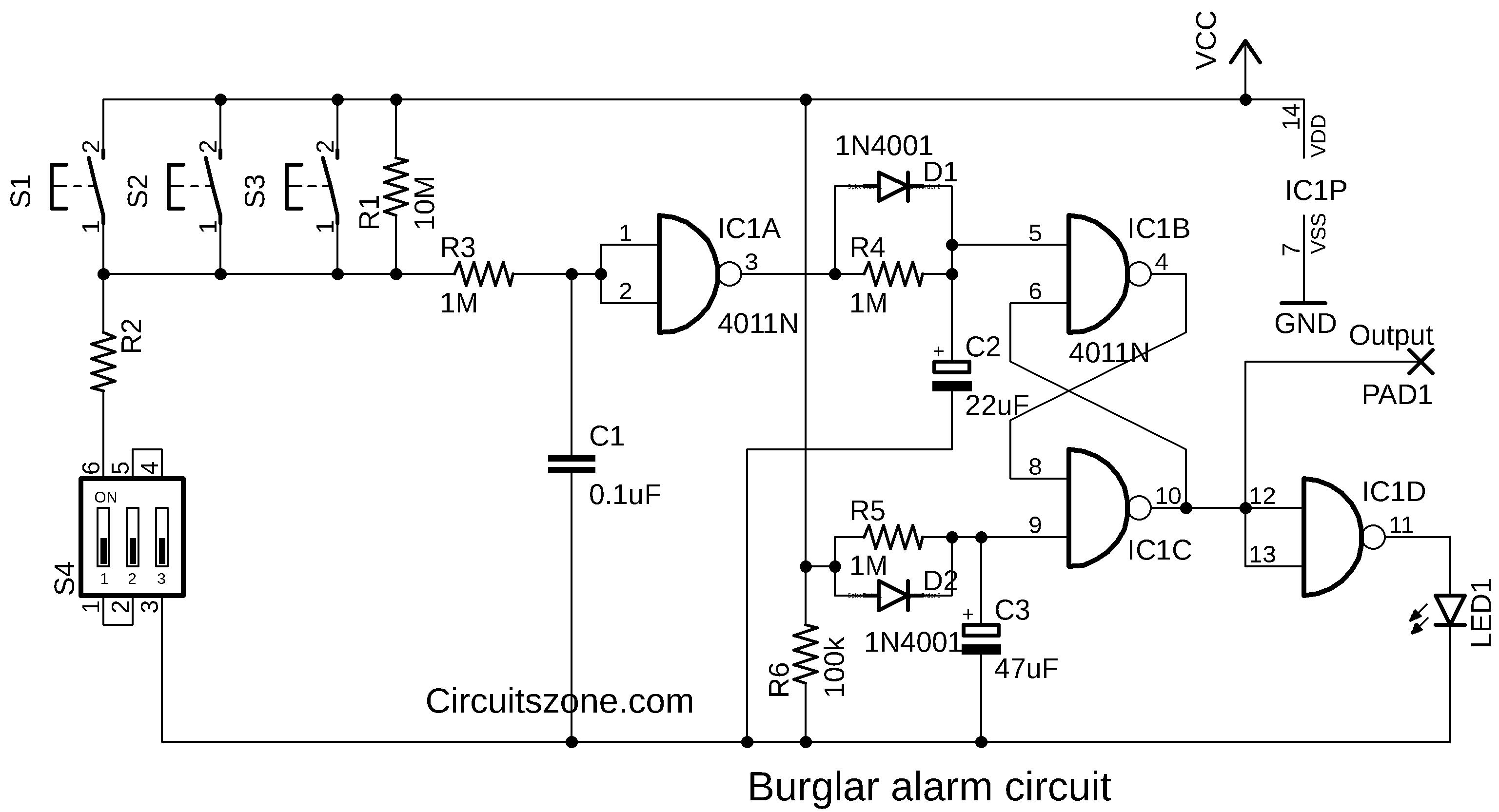 burglar alarm circuit